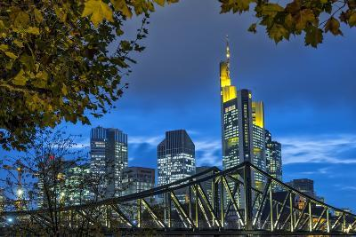 Germany, Hesse, Frankfurt Am Main, Financial District, Skyline with Iron Footbridge at Dusk