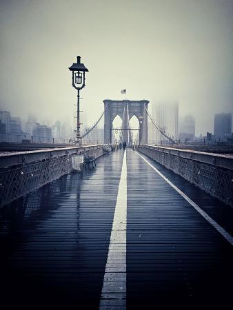 Brooklyn Bridge with Overcast Manhattan Skyline in the Background