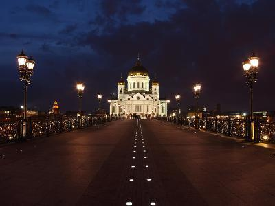 Moscow, Panorama, Christ the Savior Cathedral, by Night