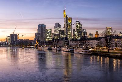 Germany, Hesse, Frankfurt on the Main, Skyline, Flš§erbrŸcke, Night