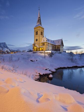 Church in Vagan (Municipality), Ausvagoya (Island), Lofoten, 'Nordland' (County), Norway