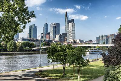 Frankfurt Am Main, Hesse, Germany, Financial District with Bank Promenade in Summer