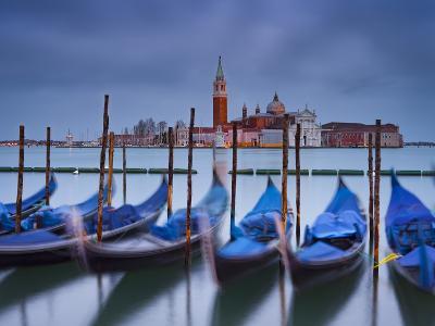 Italy, Veneto, Venice, St. Mark's Square, Gondolas, San Giorgio Maggiore, Lagoon, Evening Mood