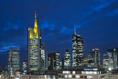 Germany, Hesse, Frankfurt on the Main, Financial District at Dusk