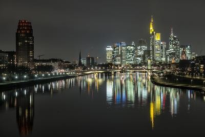 Frankfurt on the Main, Hesse, Germany, Europe, Skyline with the Flš§erbrŸcke