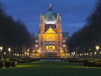 Belgium, Brussels, Basilique National Du SacrŽ-Coeur, Night