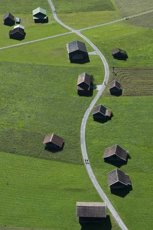 Huts, Haystacks, Mountain Pasture, Path, Nature