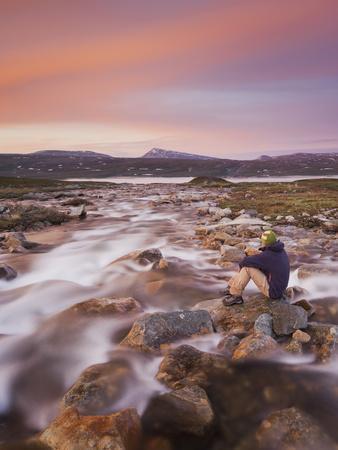 Norway, Nordland, Saltfjellet Svartisen National Park, Luonosvagge, a Person