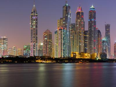 Skyscrapers Near Dubai Marina, the Palm Jumeirah, Dubai, United Arab Emirates
