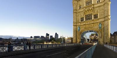 Tower Bridge across the Thames, Traffic, Dusk, London, England, Uk