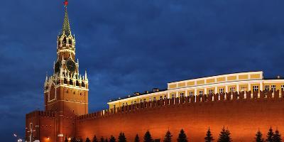 Moscow, Panorama, Kremlin, Erlšserturm (Saviour's Tower), Illuminated, in the Evening