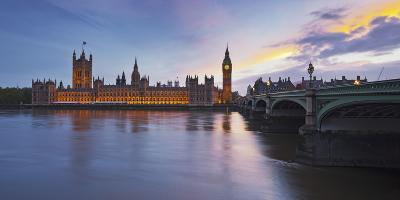 River Thames, Westminster Bridge, Westminster Palace, Big Ben, in the Evening