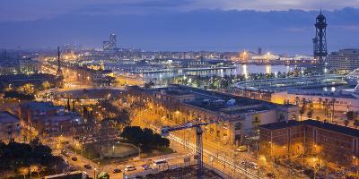 Spain, Catalonia, Barcelona, City View, Dusk