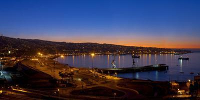 South America, Chile, Pacific Coast, Valparaiso, Harbour Bay, Evening Mood