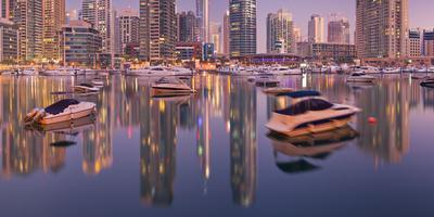 United Arab Emirates, Dubai, Dubai Marina, High Rises, Evening Light