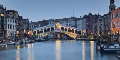 Italy, Veneto, Venice, Grand Canal, Rialto Bridge, Lighting, Evening
