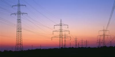 High-Voltage Poles, Transmission Line, Evening Mood