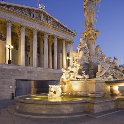 Austria, Vienna, 1st District, Parliament, Pallas Athene Statue, Dusk