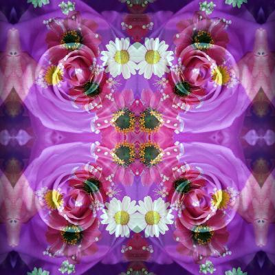 Symmetric Floral Montage of Rose Blossoms with Meadow Flowers