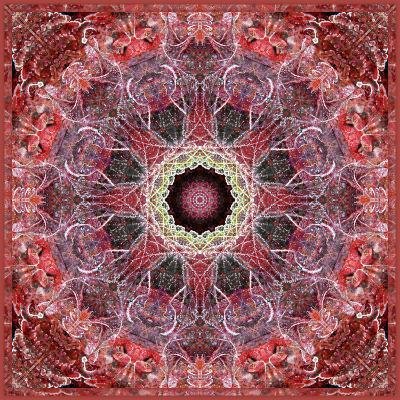 Frosted Leafes in the Forest Mandala Red Toned
