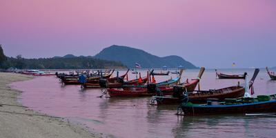 Thailand, Phuket, Rawai Beach, Longtail, Evening