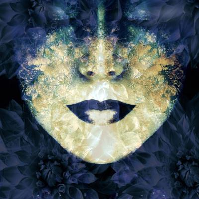 Face of a Woman, Overlayed with Flower Decoration in Blue