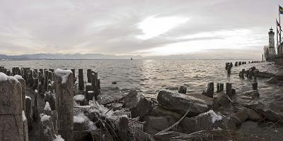 Wooden Poles Covered with Ice, Island Lindau in Lake Constance, Swedish Flag, Lighthouse, Lindau