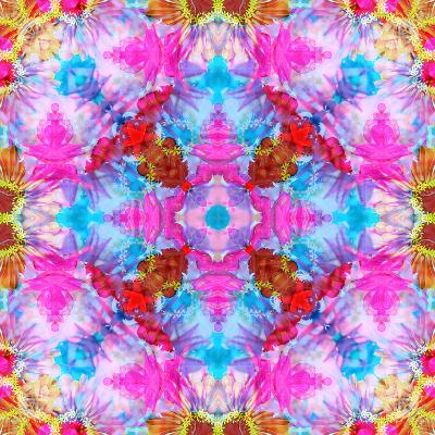 Multicolor Blossom Design from Zinnia, Gerber Daisy and Texture, Photographic Layer Work