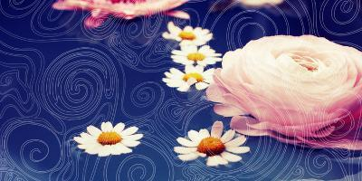 Composing of Blossoms on Ornated Pattern in Blue