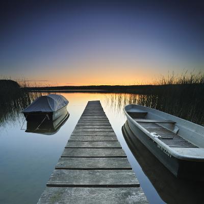 Germany, Brandenburg, Lake, Jetty, Boats, Evening Mood
