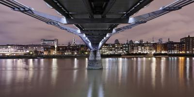 Millenium Bridge from Below, the Thames, at Night, London, England, Uk