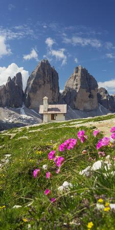 Chapel, Tre Cime Di Lavaredo (Three Merlons), Flowers, South Tyrol, the Dolomites Mountains, Italy