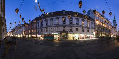 Austria, Styria, Graz, Herrengasse, Frontage, Evening-Mood, Panorama