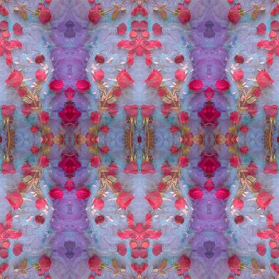 Symmetrical Photomontage of Red Roses and Floral Ornaments