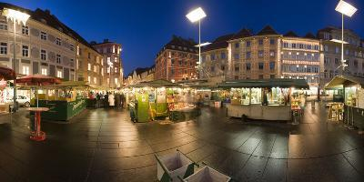 Austria, Styria, Graz, Main-Place, Frontage, Market-Stands, Evening-Mood