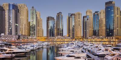 Yachts in the Harbour of Dubai Marina, High Rises, Dubai, United Arab Emirates