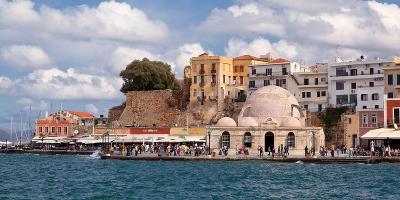 Greece, Crete, Chania, Venetian Harbour, Mosque