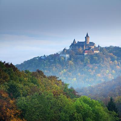 Lock Wernigerode in the First Morning Light, Behind Morning Fog, Saxony-Anhalt