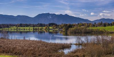 Germany, Bavaria, Upper Bavaria, Pfaffenwinkel, Riegsee, Riegsee Against Ammergau Alps