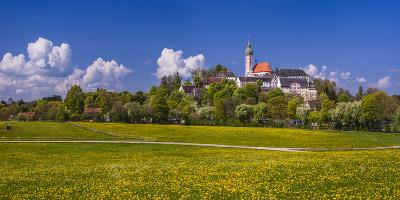 Germany, Bavaria, Upper Bavaria, FŸnfseenland, Andechs, Spring Scenery with Cloister of Andechs