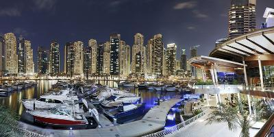 Dubai Marina, Night Photography, Yachts, Tower, Hotels