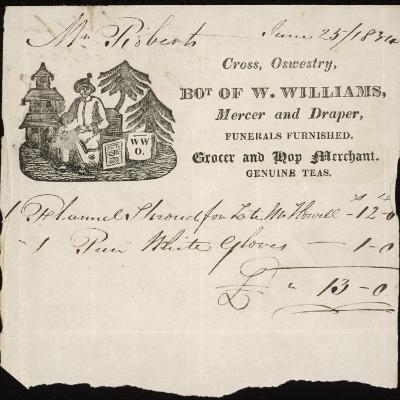 W. Williams, Draper, Grocer and Undertaker, of Oswestry