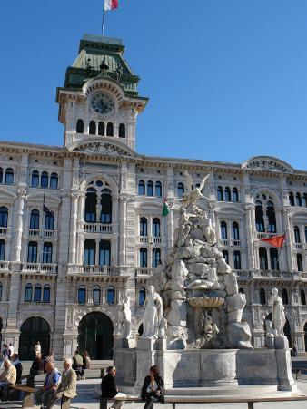 City Hall with Fountain in the Piazza Dell'Unita D'Italia, Trieste, North East Italy