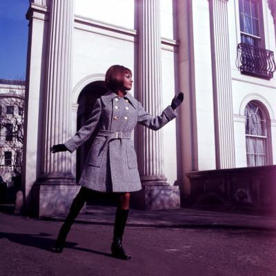Female Retro Fashion Model in Tweed Coat, Sixties Attire, Clothing, Models
