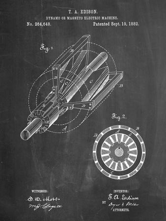 Edison Dynamo Electrical Generator Patent Print