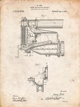 Model T Engine and Radiator Assembly
