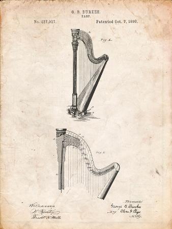 Harp Instrument 1890 Patent