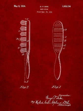 Wooden Hair Brush 1933 Patent
