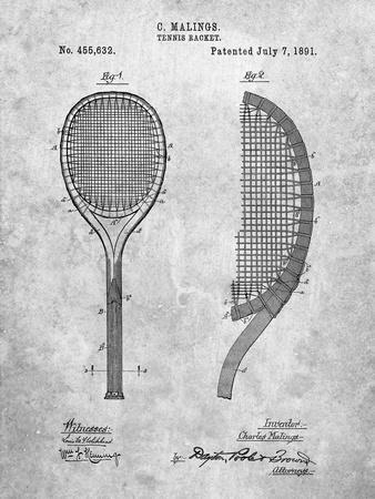 Vintage Tennis Racket 1891 Patent