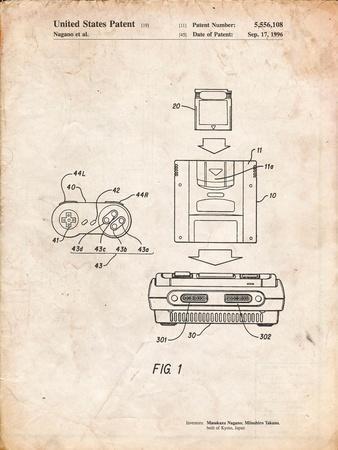 Super Nintendo Console Remote and Cartridge Patent